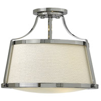 Charlotte 3 Light 16 inch Chrome Semi-Flush Mount Ceiling Light in Etched Opal, Woven Off-White Fabric Shade and Etched Opal Glass