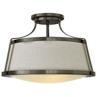 Charlotte 3 Light 20 inch Antique Nickel Foyer Semi-Flush Mount Ceiling Light