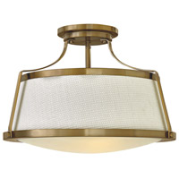 Hinkley 3522BC Charlotte 3 Light 20 inch Brushed Caramel Foyer Semi-Flush Mount Ceiling Light