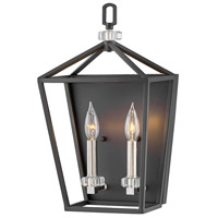 Hinkley 3532BK Stinson 2 Light 10 inch Black with Polished Nickel Accents Wall Sconce Wall Light