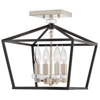Stinson 4 Light 13 inch Black Semi-Flush Chandelier Ceiling Light