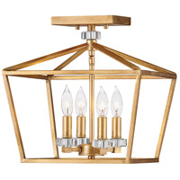 Hinkley 3533DA Stinson 4 Light 13 inch Distressed Brass Chandelier Ceiling Light in Distressed Black