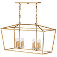 Stinson 8 Light 34 inch Distressed Brass Linear Chandelier Ceiling Light