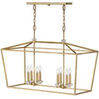 Hinkley 3534DA Stinson 8 Light 34 inch Distressed Brass Linear Chandelier Ceiling Light