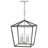 Hinkley 3536BK Stinson 4 Light 18 inch Black/Polished Nickel Chandelier Ceiling Light