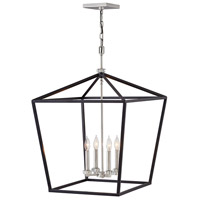 Hinkley 3538BK Stinson 4 Light 22 inch Black with Polished Nickel Accents Chandelier Ceiling Light Open Frame