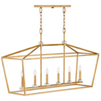 Stinson 6 Light 42 inch Distressed Brass Linear Chandelier Ceiling Light