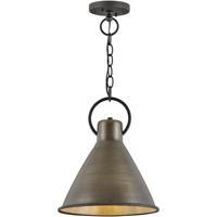 Hinkley 3557DS Winnie 1 Light 12 inch Dark Antique Brass/Textured Black Pendant Ceiling Light