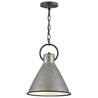 Hinkley 3557RP Winnie 1 Light 12 inch Rustic Pewter/Textured Black Pendant Ceiling Light