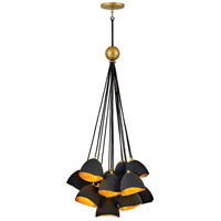Hinkley 35906SHB Nula 15 Light 26 inch Shell Black with Gold Leaf Pendant Ceiling Light