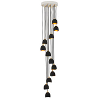 Hinkley 35908SHB Nula 12 Light 60 inch Shell Black with Gold Leaf Chandelier Ceiling Light