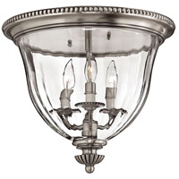 Cambridge 3 Light 15 inch Pewter Foyer Flush Mount Ceiling Light