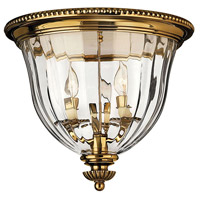 Hinkley 3612BB Cambridge 3 Light 15 inch Burnished Brass Flush Mount Ceiling Light