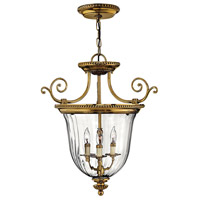 Hinkley 3613BB Cambridge 3 Light 21 inch Burnished Brass Foyer Pendant Ceiling Light, Combo Mount