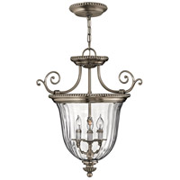 Hinkley 3613PW Cambridge 3 Light 21 inch Pewter Foyer Pendant Ceiling Light, Combo Mount