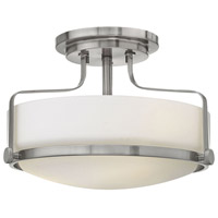 Harper 2 Light 15 inch Brushed Nickel Semi Flush Ceiling Light in LED, Opal Glass