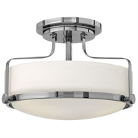 Harper 2 Light 15 inch Chrome Semi Flush Ceiling Light in LED, Opal Glass