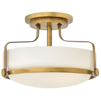 Harper 3 Light 15 inch Heritage Brass Foyer Semi-Flush Mount Ceiling Light in Incandescent