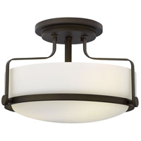 Harper 3 Light 15 inch Oil Rubbed Bronze Foyer Semi-Flush Mount Ceiling Light in Incandescent, Opal Glass