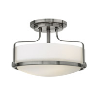 Harper 3 Light 15 inch Brushed Nickel Semi-Flush Mount Ceiling Light in GU24, Etched Opal Glass