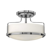 Hinkley 3641CM-GU24 Harper 3 Light 15 inch Chrome Semi-Flush Mount Ceiling Light in GU24, Etched Opal Glass