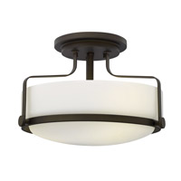 Hinkley 3641OZ-GU24 Harper 3 Light 15 inch Oil Rubbed Bronze Semi-Flush Mount Ceiling Light in GU24, Etched Opal Glass