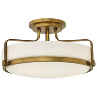 Harper 3 Light 18 inch Heritage Brass Foyer Semi-Flush Mount Ceiling Light in Incandescent