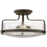 Hinkley 3643oz Cs Harper 3 Light 18 Inch Oil Rubbed Bronze With Clear Seedy Glass Semi Flush Mount Ceiling Light In Incandescent