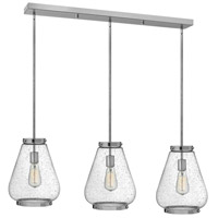 Finley 3 Light 40 inch Chrome Pendant Ceiling Light, Clear Seedy Glass