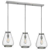 Finley 3 Light 40 inch Brushed Nickel Pendant Ceiling Light, Clear Seedy Glass