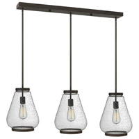 Hinkley 3685OZ Finley 3 Light 40 inch Oil Rubbed Bronze Pendant Ceiling Light, Clear Seedy Glass