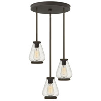 Hinkley 3688OZ Finley 3 Light 17 inch Oil Rubbed Bronze Pendant Ceiling Light Clear Seedy Glass