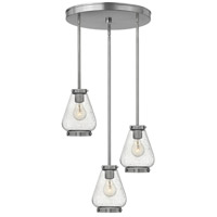 Hinkley 3688BN Finley 3 Light 17 inch Brushed Nickel Pendant Ceiling Light, Clear Seedy Glass