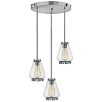 Hinkley 3688CM Finley 3 Light 17 inch Chrome Pendant Ceiling Light, Clear Seedy Glass