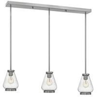 Hinkley 3689BN Finley 3 Light 36 inch Brushed Nickel Pendant Ceiling Light Clear Seedy Glass