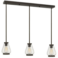 Finley 3 Light 36 inch Oil Rubbed Bronze Pendant Ceiling Light, Clear Seedy Glass