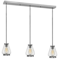 Finley 3 Light 36 inch Chrome Pendant Ceiling Light, Clear Seedy Glass