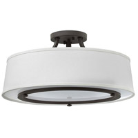 Harrison 3 Light 20 inch Buckeye Bronze Foyer Semi-Flush Mount Ceiling Light, Etched Acrylic Diffuser