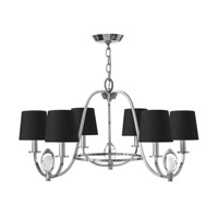 Marielle 6 Light 26 inch Chrome Chandelier Ceiling Light, Black Silk Gold Lined Shade