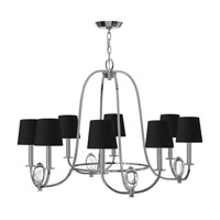 Hinkley 3758CM Marielle 8 Light 32 inch Chrome Chandelier Ceiling Light Black Silk Gold Lined Shade