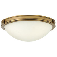Hinkley Lighting Maxwell 2 Light Flush Mount in Heritage Brass with Etched Opal Glass 3782HB