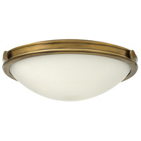 Hinkley 3783HB Maxwell 3 Light 19 inch Heritage Brass Foyer Flush Mount Ceiling Light, Etched Opal Glass