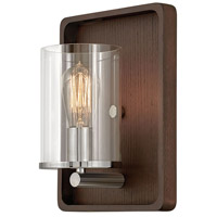 Hinkley 3810DW Eton 1 Light 9 inch Dark Walnut/Polished Nickel Sconce Wall Light