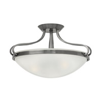 Hinkley 3831PL Paxton 3 Light 19 inch Polished Antique Nickel Semi Flush Ceiling Light