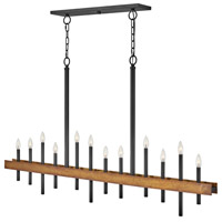 Hinkley 3864WA Wells 12 Light 60 inch Weathered Brass/Black Chandelier Ceiling Light