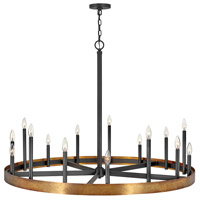 Hinkley 3865WA Wells 15 Light 45 inch Weathered Brass/Black Chandelier Ceiling Light