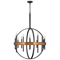 Hinkley 3867WA Wells 12 Light 30 inch Weathered Brass/Black Chandelier Ceiling Light