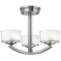 Hinkley 3871BN Meridian 3 Light 16 inch Brushed Nickel Foyer Semi-Flush Mount Ceiling Light