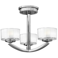 Hinkley 3871CM Meridian 3 Light 16 inch Chrome Bath Semi-Flush Mount Ceiling Light