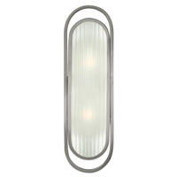 Astor 2 Light 6 inch Brushed Nickel Sconce Wall Light, Ribbed Etched Glass
